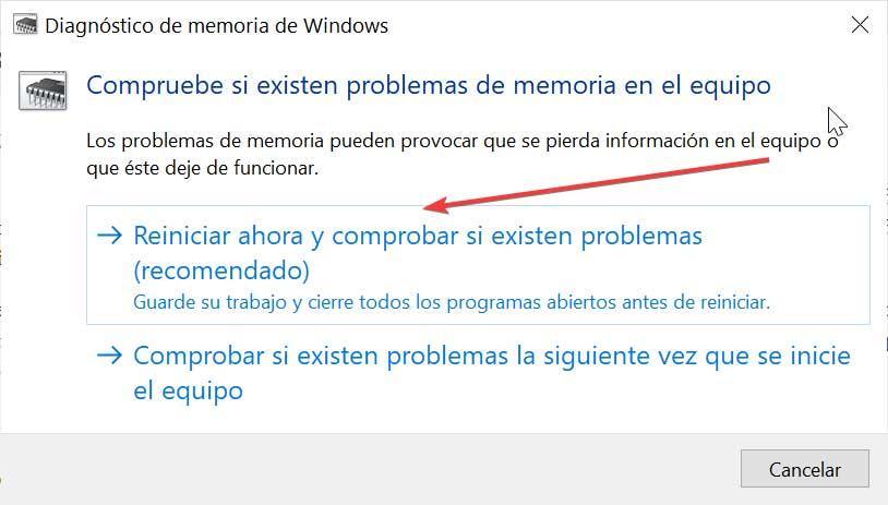 Usar Diagnóstico de memoria de Windows