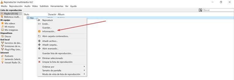 VLC Información de un archivo