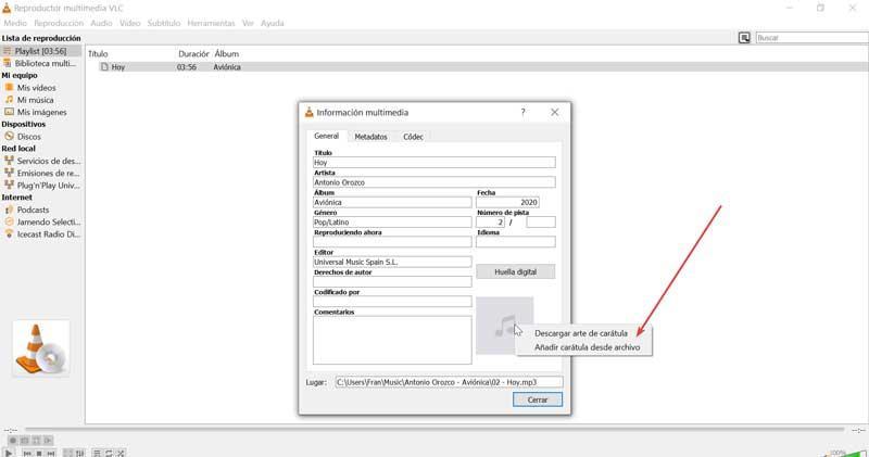 VLC adăuga carátula desde archivo