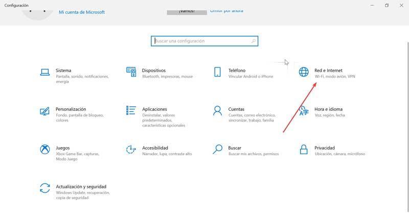 Windows Configuración redes e internet