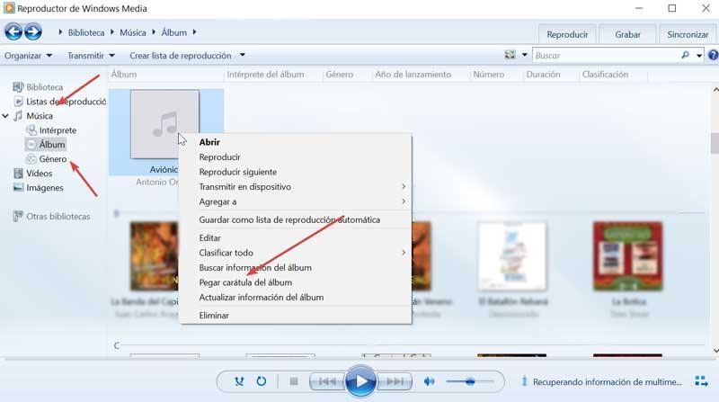 Windows media pegar carátula
