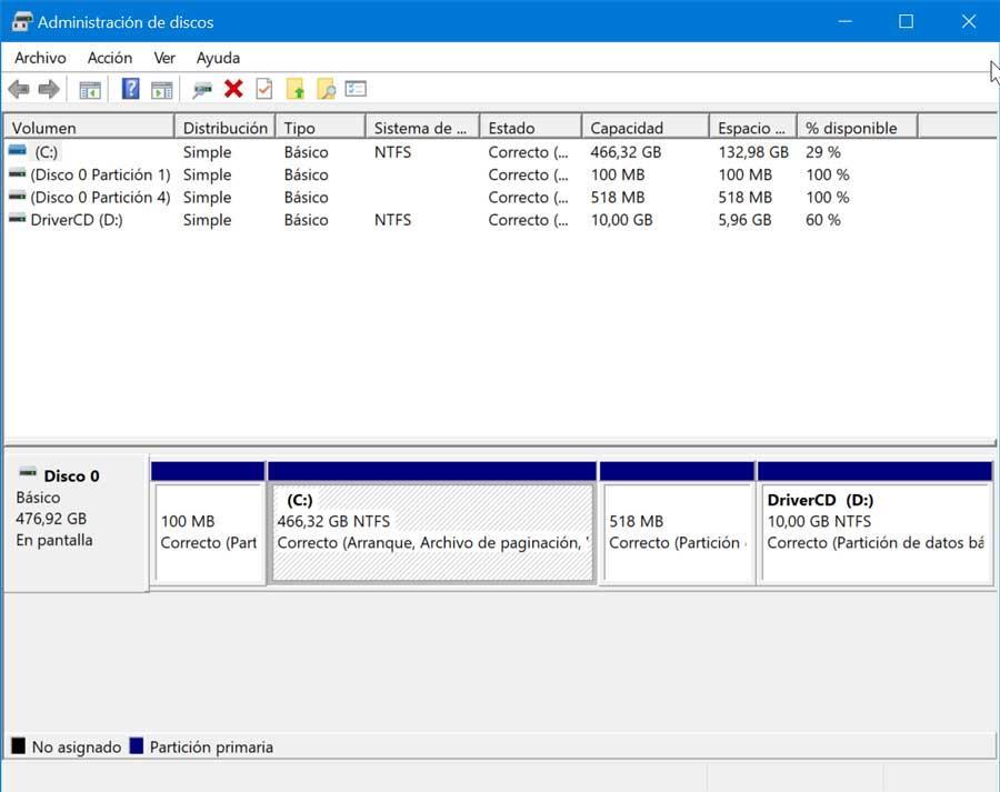 Administración de discos en Windows