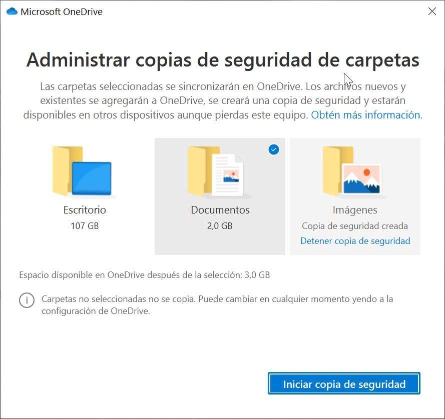 Administrar copias de seguridad de carpetas en OneDrive