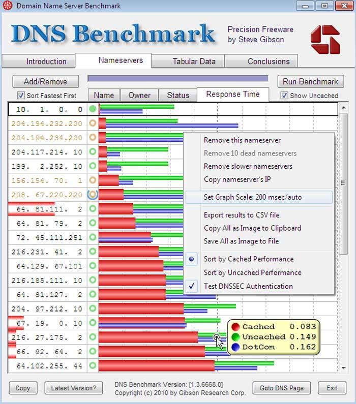 Aplicación DNS Benchmark