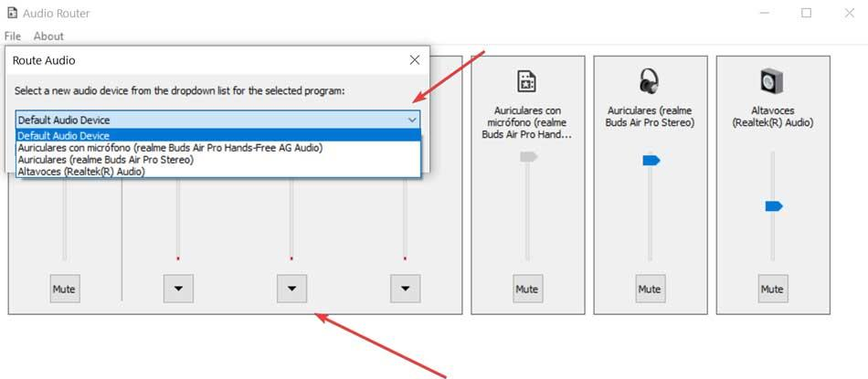 Audio Router seleccionar salida de sonido para aplicación