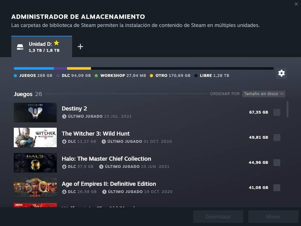 Beta Steam - Nuevo apartado carpetas juegos