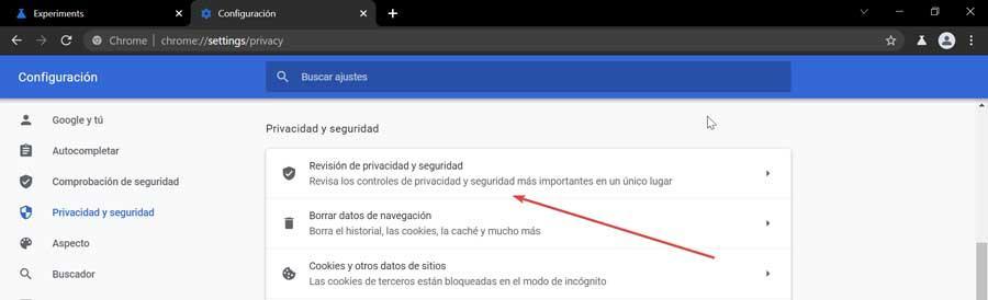 Chrome revisión de privacidad y seguridad