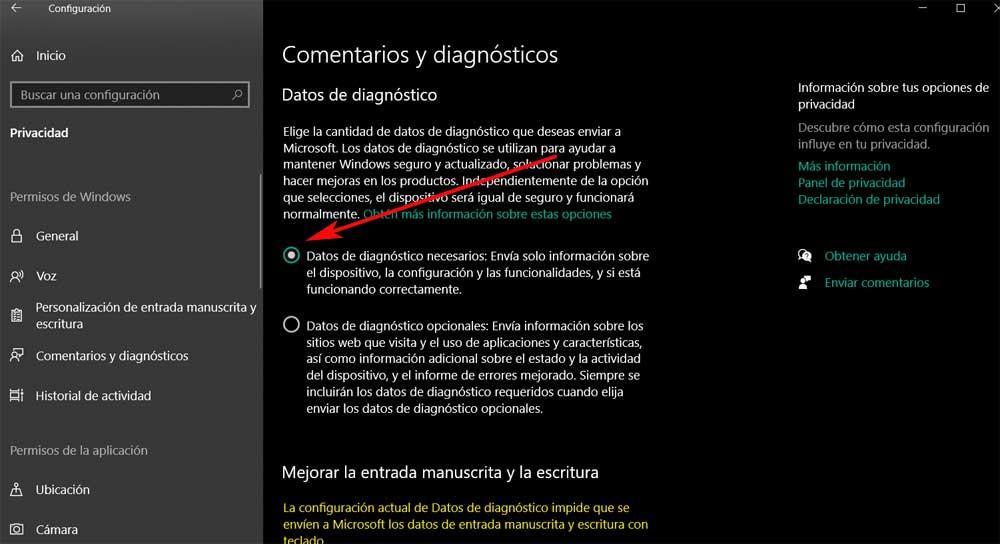 Datos del diagnóstico necesarios Windows