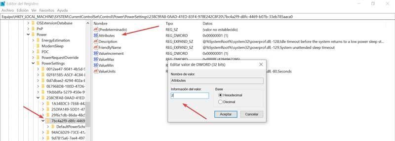 Editor de Registro Attributes valor 2