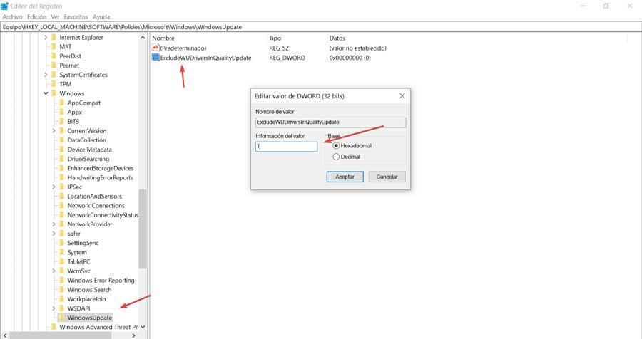 Editor de registro desactivar actualizaciones automáticas