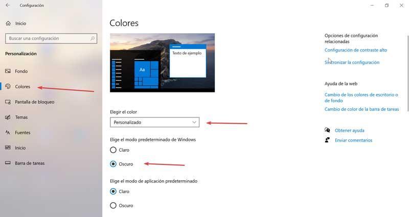 Elegir color Personalizado