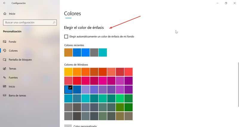 Elegir color de énfasis