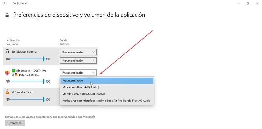 Establecer salida y entrada de audio por aplicación en Windows
