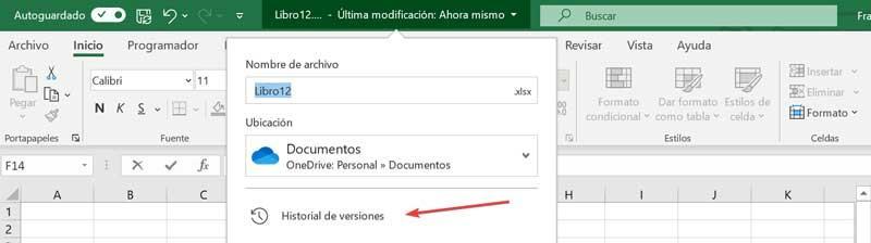 Historial de versiones Excel