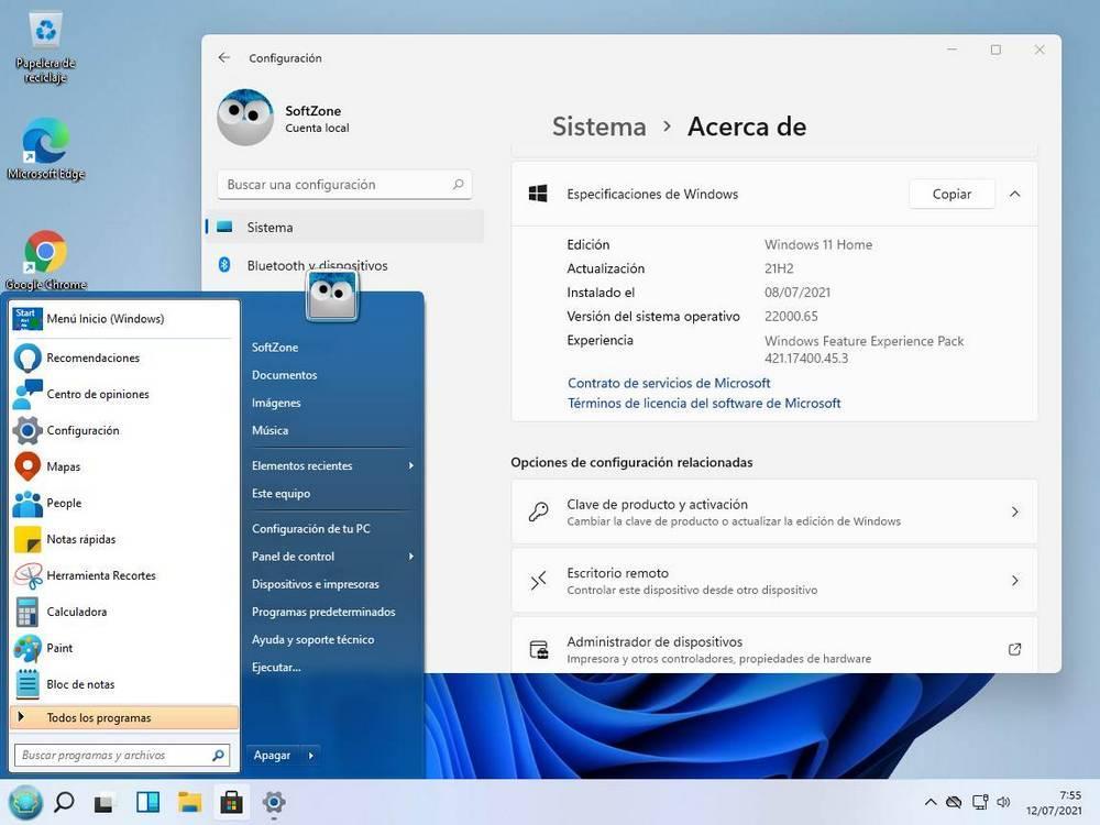 Menú inicio Windows 7 en Windows 11