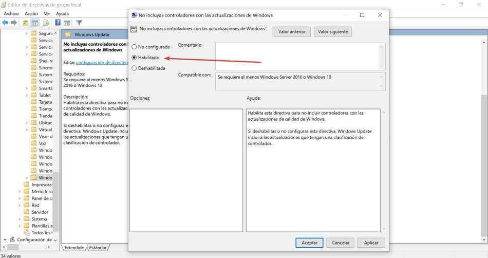 No incluyas controladores en las actualizaciones de Windows