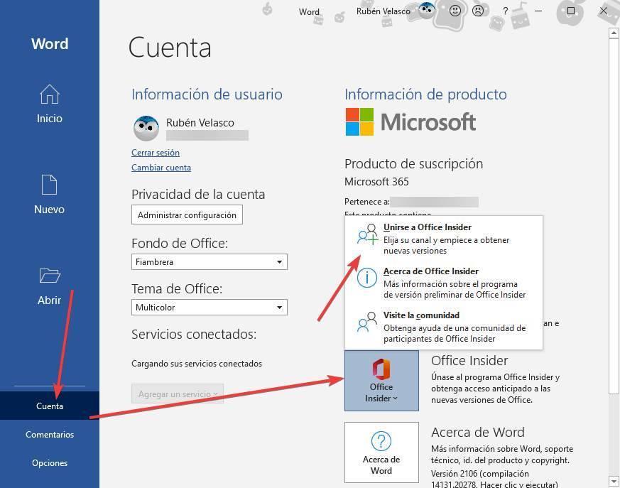 Office - Entrar en programa Beta