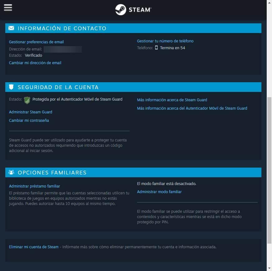 Opțiuni de securitate a contului de Steam