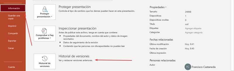 PowerPoint Historial de versiones
