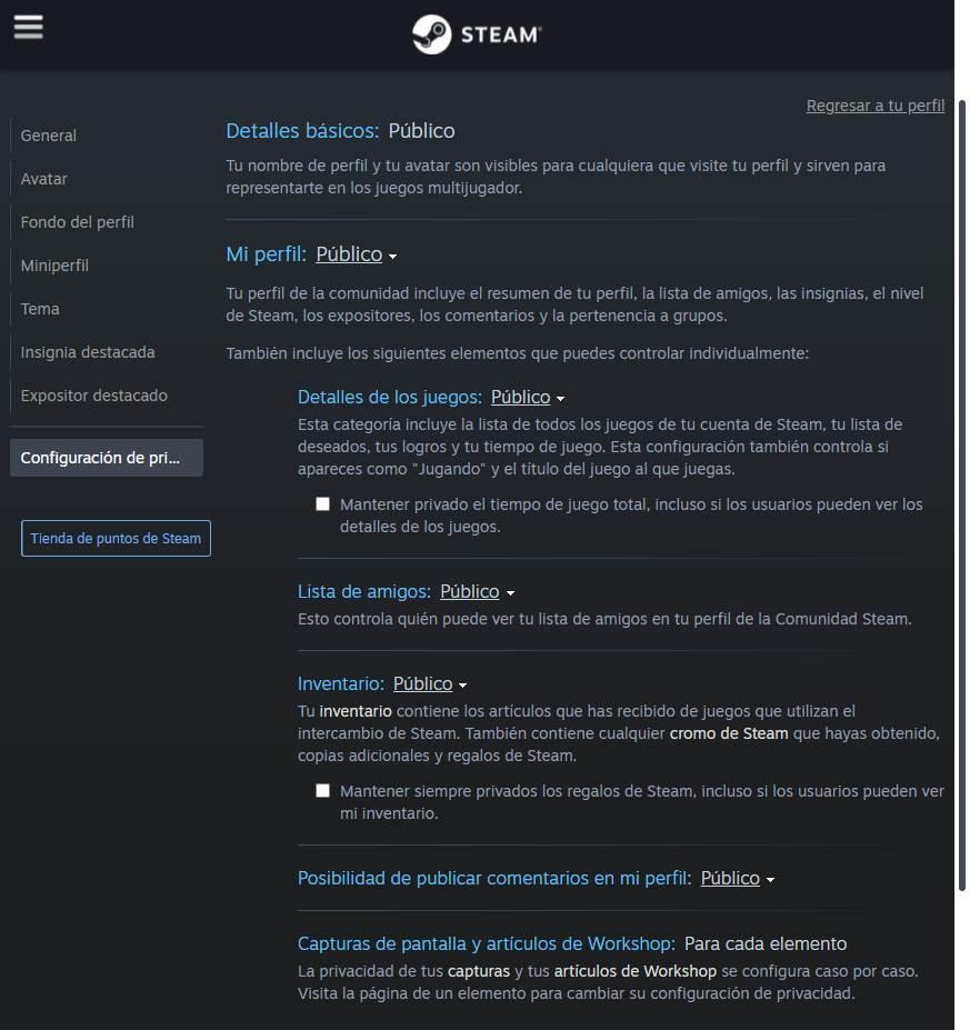 Privacidad cuenta Steam - 3