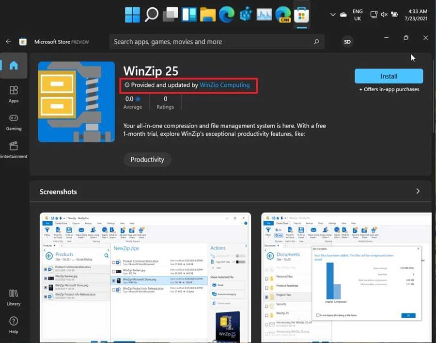 Windows 11 WinZip