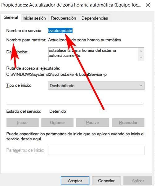 nombre servicio Windows