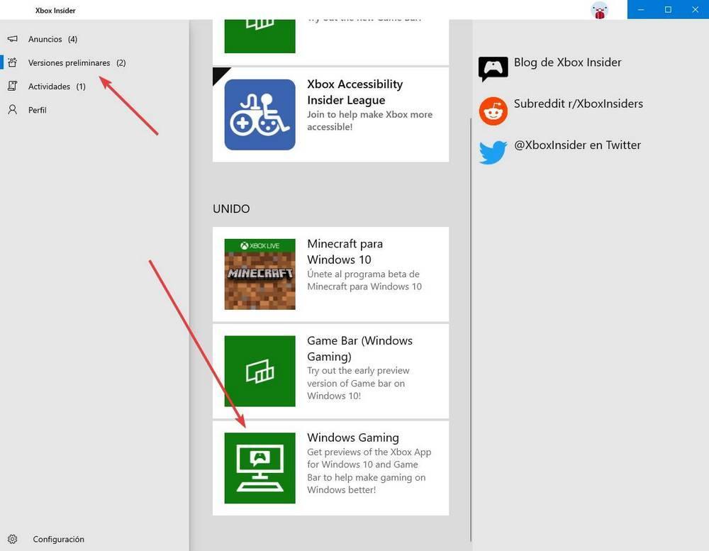 App Xbox Windows - Insider 1