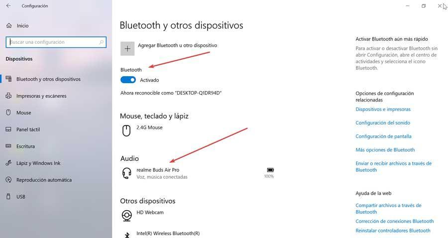 Bluetooth och Windows conectado