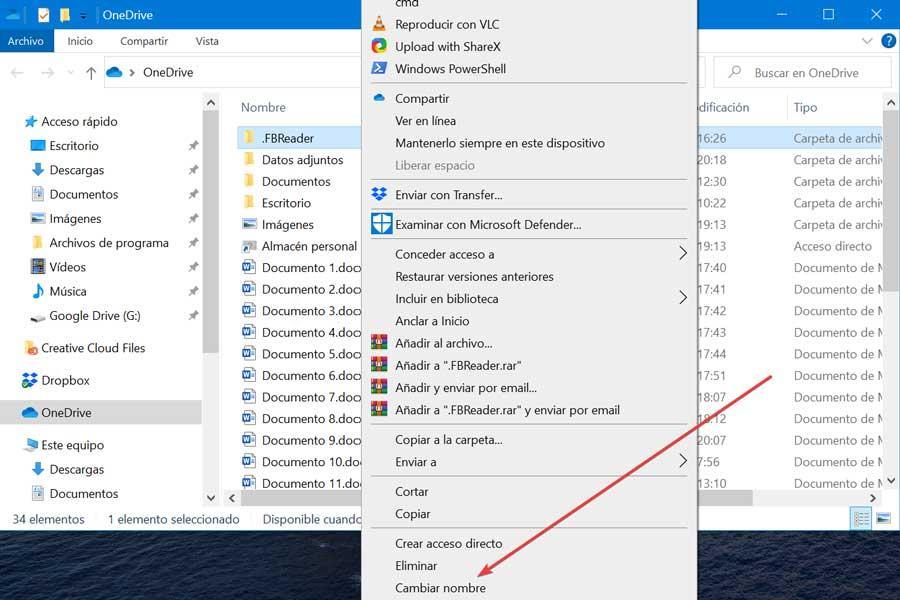 Cambiar nombre carpeta en OneDrive