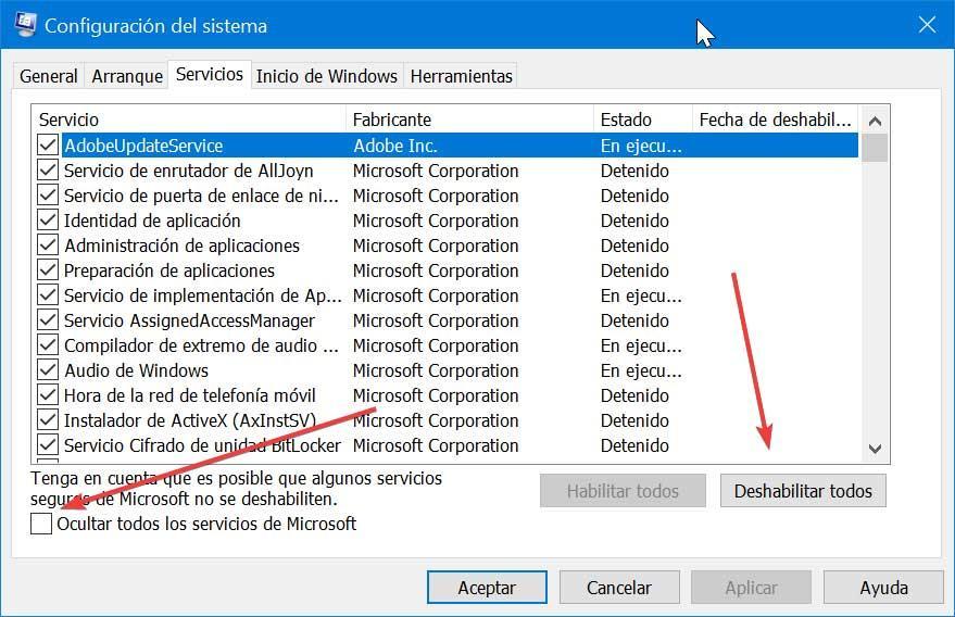 Configuración del sistema ocultar servicios de Microsoft