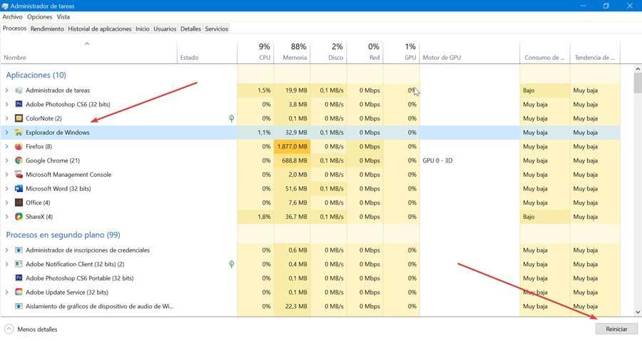 Finalizar tarea del Explorador de Windows