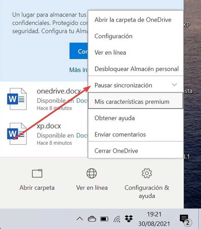 OneDrive Pausar sincronización