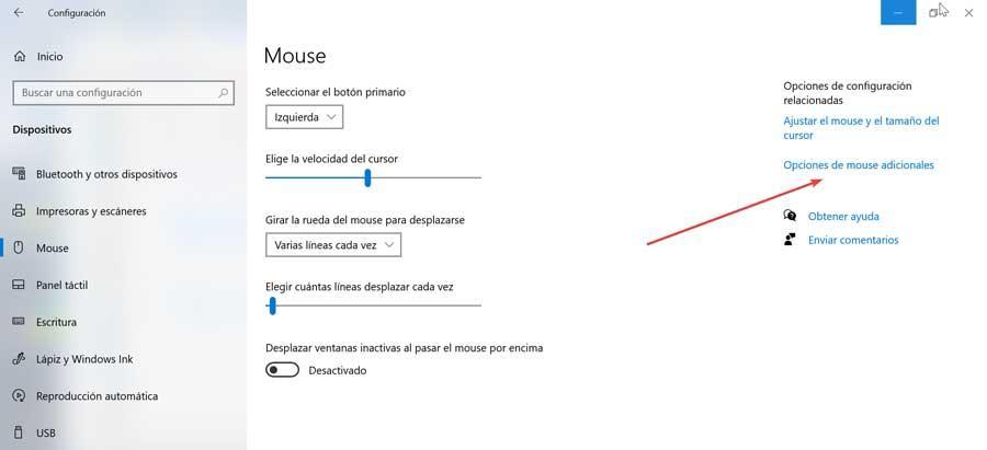 Opciones de mouse adicionales