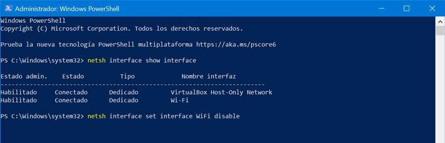 PowerShell desactivar WiFi
