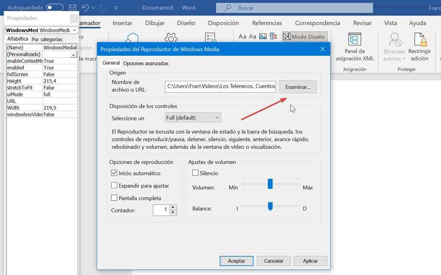 Word Propiedades del reproductor Windows Media Player