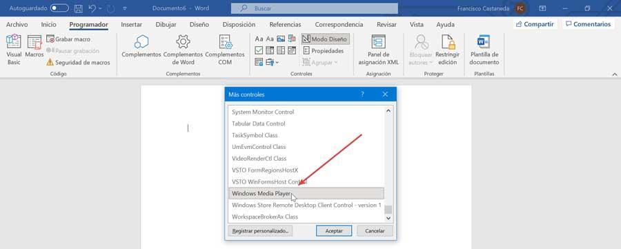 Word controles Windows Media Player