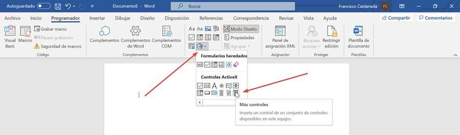 Word formularios heredados y más controles