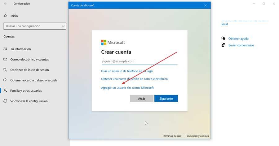 Agregar un usuario sin cuenta Microsoft