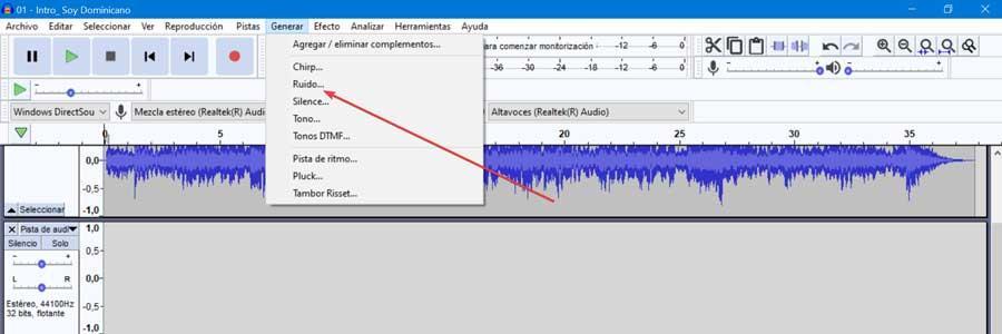 Audacity generar ruido
