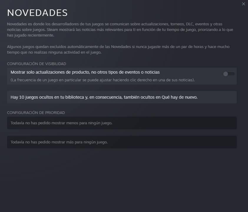 Cambiar ajustes novedades Steam