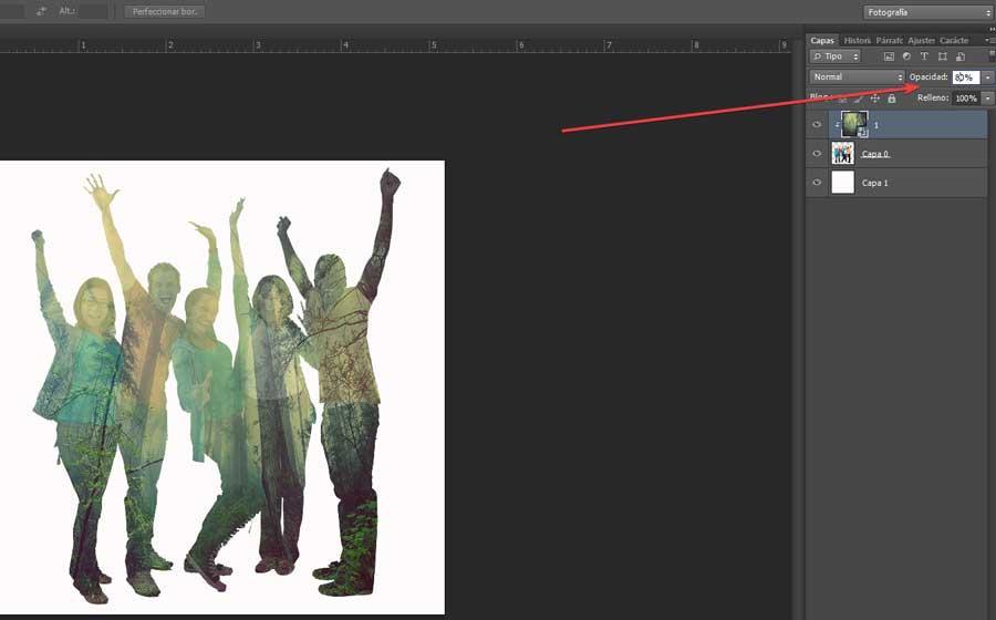 Double exposition avec Photoshop cambiar opacidad