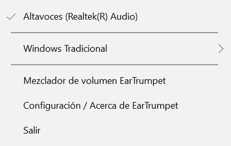 EarTrumpet menú contextual
