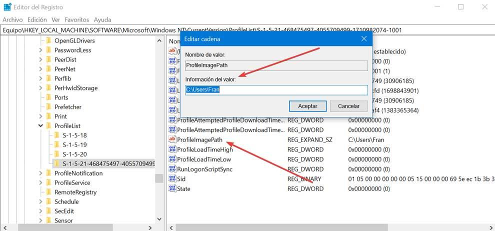 Editor de registro de informações de valor ProfileImagePath