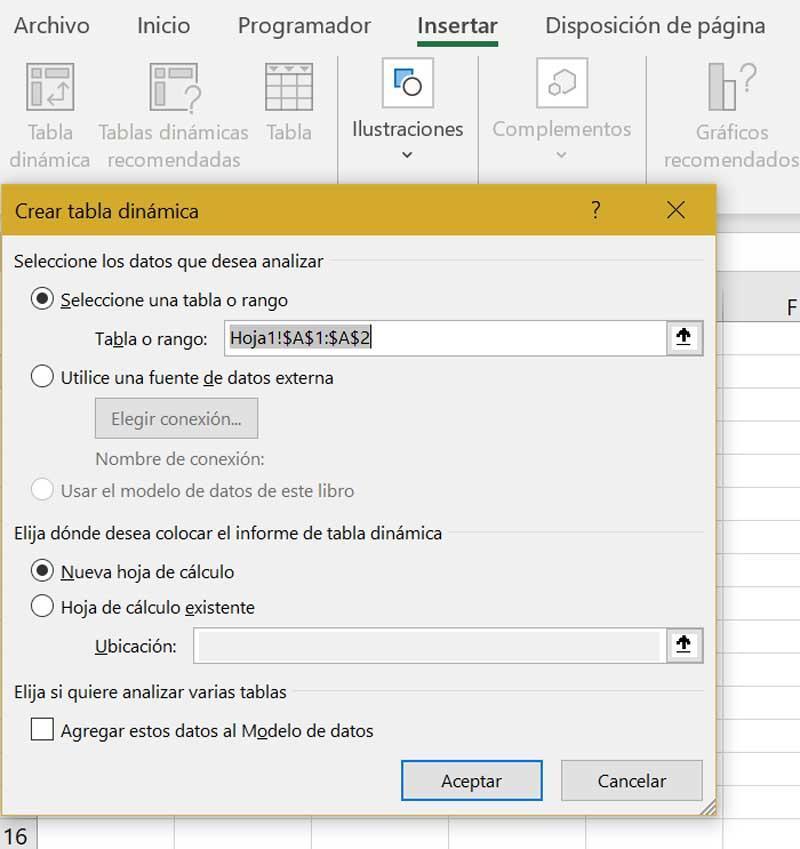 Excel crear tabla dinámica