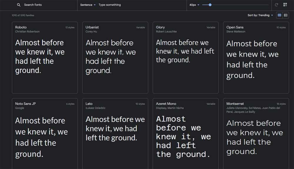 Google fontteja