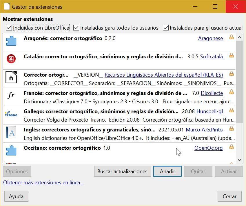 LibreOffice Writer Gestor de extensiones