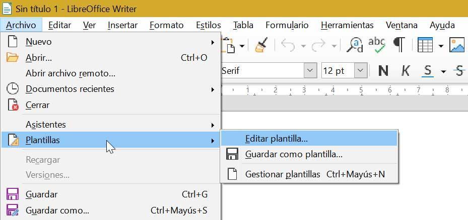 LibreOffice Writer guardar plantillas creada