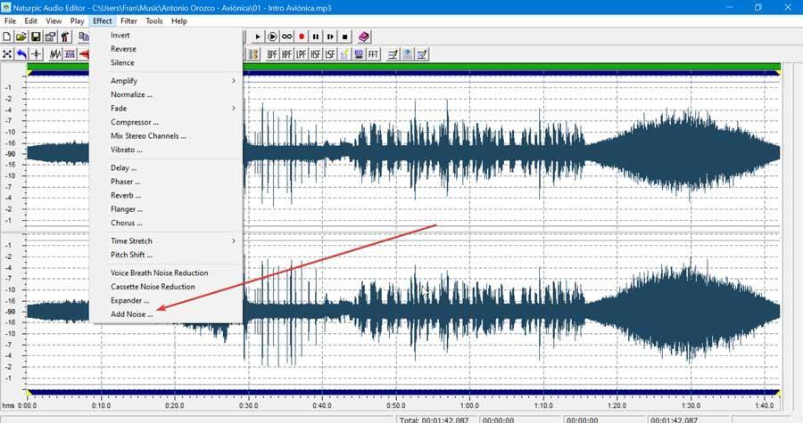 Naturpic Audio Editor añadir ruido
