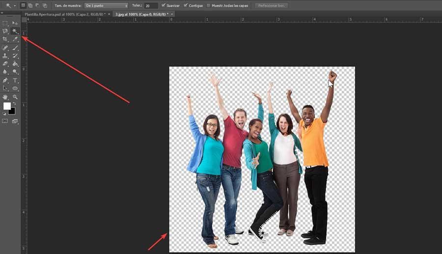 Photoshop aplicar varita mágica en fondo blanco