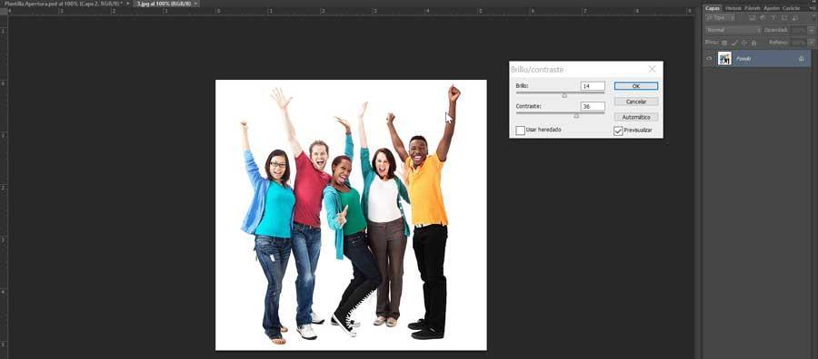 Photoshop subir brillant et contracter une image
